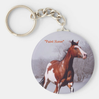 Paint Horse Galloping Snow Key chain
