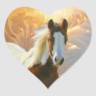 Paint Horse Gold Heart Stickers