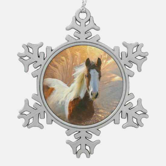 Paint Horse Gold Pewter Snowflake Ornament