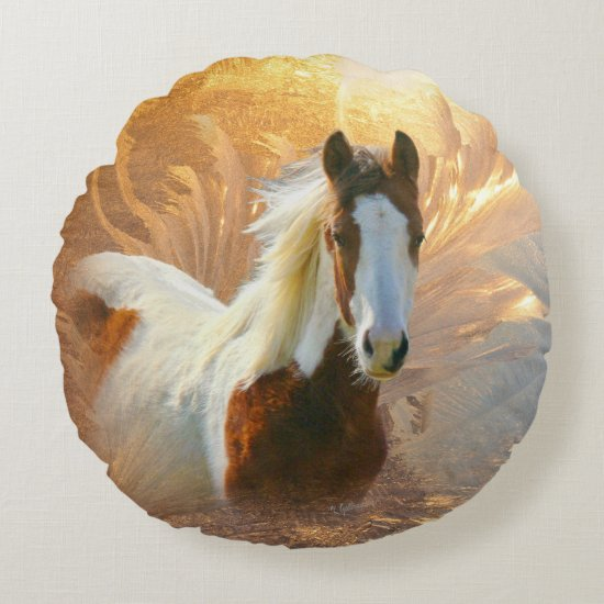 Paint Horse Gold Round Pillow