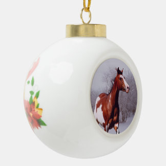 Paint horse in snow Ball Ornament