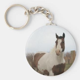 Paint horse basic round button keychain