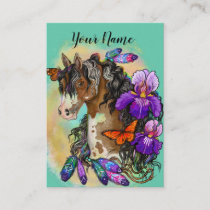Paint Horse Mustang with Iris and butterflies Business Card
