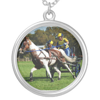 Paint horse on CDE course Round Pendant Necklace