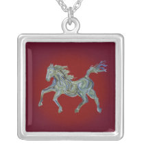 Paint Horse on Red Silver Plated Necklace