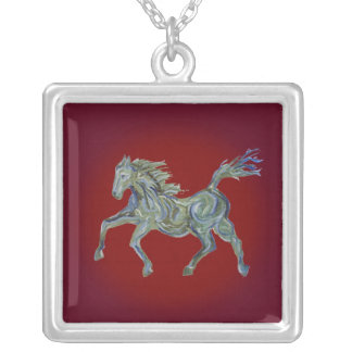 Paint Horse on Red Square Pendant Necklace