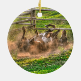 Paint Horse Rolling in Dust Funny Equine Photo Ceramic Ornament