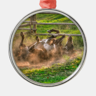 Paint Horse Rolling in Dust Funny Equine Photo Metal Ornament