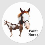 Paint Horse Round Stickers