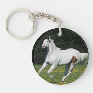 Paint Horse Running in Grassy Field Keychain