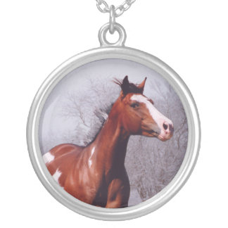 Paint Horse running Silver Necklace