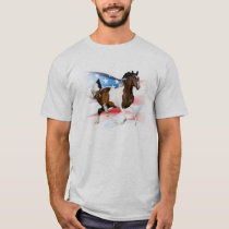 Paint Horse Running with American Flag T-Shirt