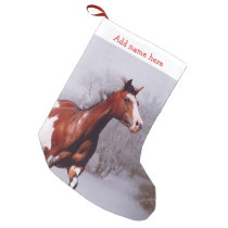 Paint Horse snow Christmas Stocking