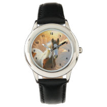 Paint Horse Stainless Steel Kids Watch