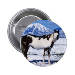 Paint Horse Standing in the Snow Buttons