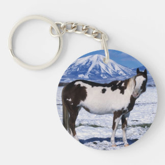 Paint Horse Standing in the Snow Keychain