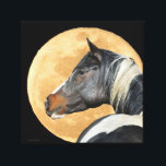 """Paint horse With Full Moon Canvas Print<br><div class=""""desc"""">Stunning paint horse in front of beautiful full moon in southern California</div>"""