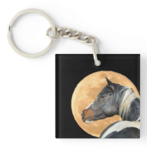 Paint Horse With Full Moon Keychain