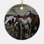 Paint Horses Drinking Double-Sided Ceramic Round Christmas Ornament