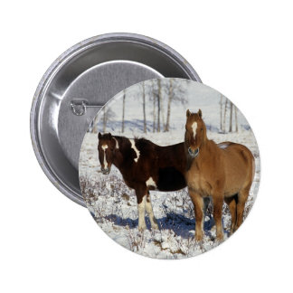Paint Horses in the Snow Button