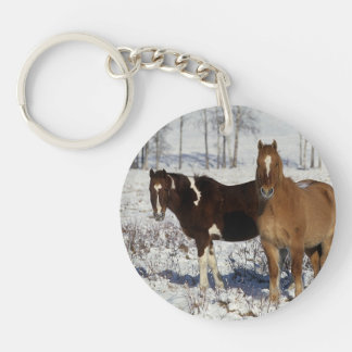 Paint Horses in the Snow Keychain