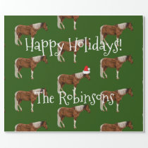 Paint Horses & Red Santa Hat Christmas Wrapping Paper