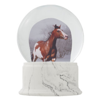 Paint Horses sunrise winter Snow Globe