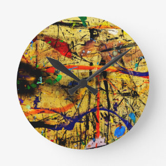 Paint in abstact on a table round clock