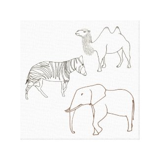 Paint in Elephant Zebra Camel Wrapped Canvas