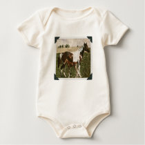 Paint Mare and Foal Baby Bodysuit