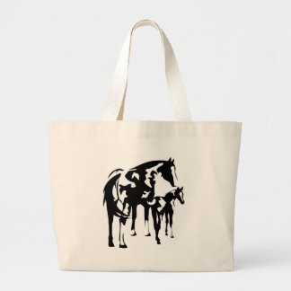 Paint Mare and Foal Large Tote Bag
