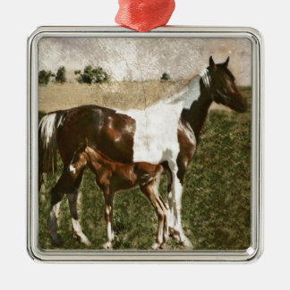 Paint Mare and Foal Christmas Tree Ornament