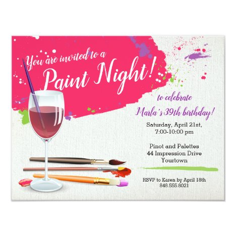 Paint Night, Paint and Sip Wine Glass Canvas Party Invitation