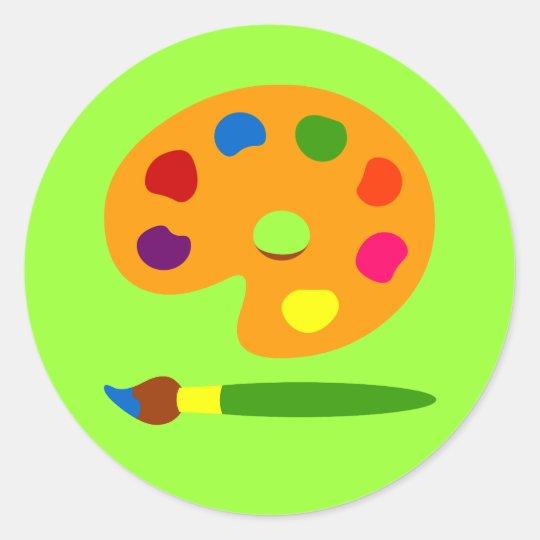 Paint Palette Art Classic Round Sticker