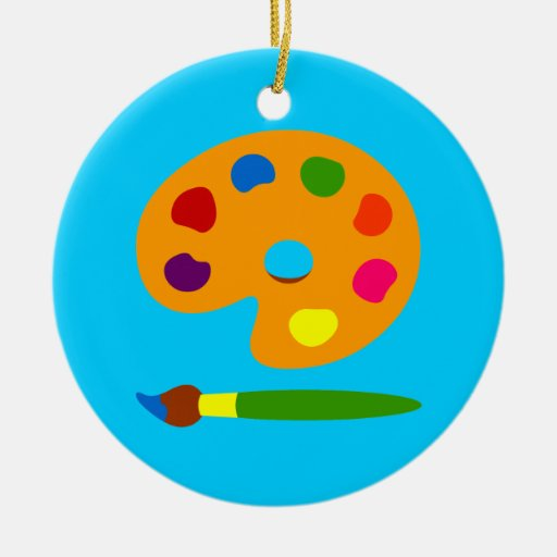 Palette art double sided ceramic round christmas ornament zazzle