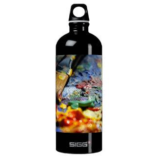 Paint Palette Closeup Water Bottle
