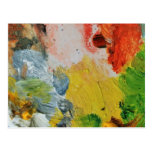 Paint palette colors abstract art post cards