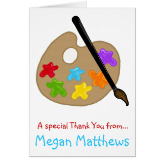Paint Pallette  Thank You Note Cards