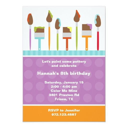 Paint party invitations invite zazzle for Paint party invitations free