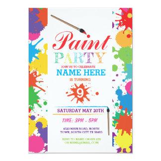 PAINT PARTY INVITE KIDS NEON FUN ART INK BIRTHDAY