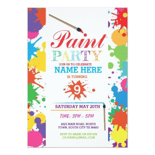 paint party invite kids neon fun art ink birthday zazzle com