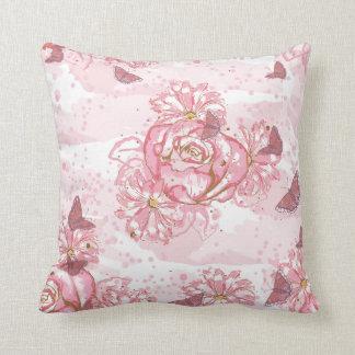 Paint Pink Roses Daisies Butterflies Throw Pillow