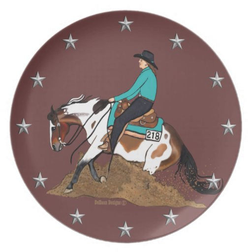 Paint Reining Horse Plate