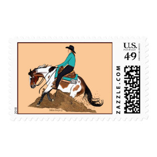 Paint Reining Horse Postage Stamp