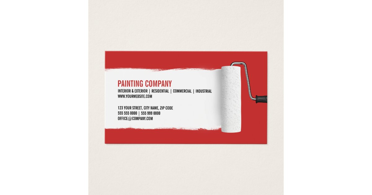 Paint Roller Painting Contractor business card   Zazzle.com