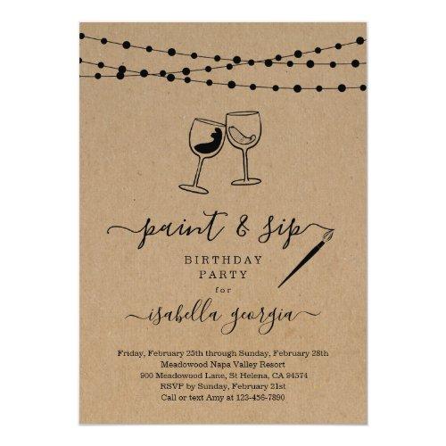 Paint & Sip Birthday, Bachelorette, Bridal Shower Invitation
