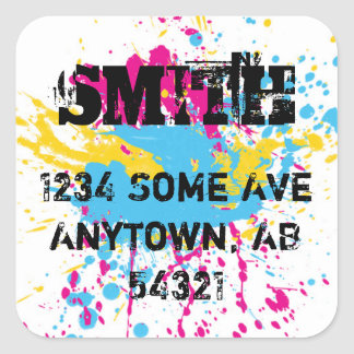 Paint Spatter Spray Grunge Graffiti Tag Neon Square Sticker