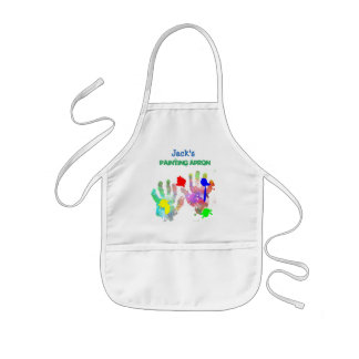 Paint Splash and Hand Print Artist Kids' Apron