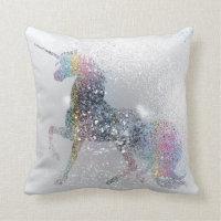 Paint Splash Unicorn Throw Pillow