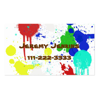 Paint Splashes Children s calling card Business Card Templates